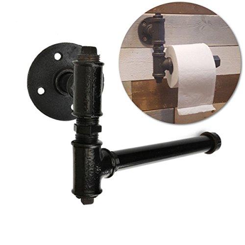 Jeteven Vintage Toilet Paper Holder Wall Mount Retro Heavy Duty Industrial Iron Pipe Bathroom Roll Paper Holder