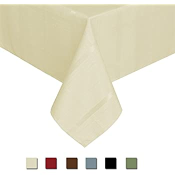 Eforcurtain Fashion Rectangle Plaid Tablecloth Water Resistant Polyester  Table Cover For Parties, Light Beige,