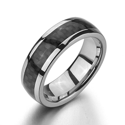 Aooaz Stainless Steel Rings For Men Silver Black Rings Wedding Bands Size 11 Retro Elegant Free Engraving -