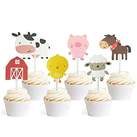 Editable SET OF 6 Cupcake Topper Corjl BS006 Blush Floral Baby Shower Floral Animals Cupcake Topper Floral Animals with Mask Baby Shower