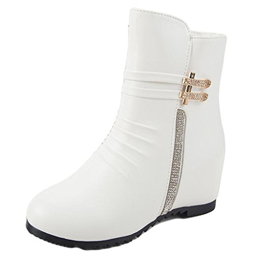 Binying Women's Round-Toe Diamond Flat Zip Ankle Boots White