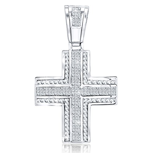Men's Sterling Silver .925 Original Design Iced Out Large Cross Pendant with 80 White Cubic Zirconia Stones. Large Bail for Wide Chains, Hand Polished, Platinum Plated.