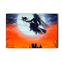 20X30 Inch Poster Flying Witch Painting Halloween Wall Sticker