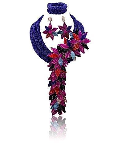 Bleu élégant allongé 3couches dernière style africain perles avec cristal fait main fleur africaine de perles bijoux