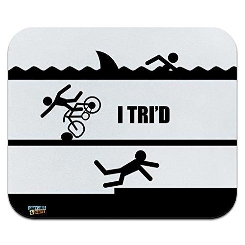 - I Tri'd Triathlon Triathlete Swim Bike Run Tried Funny Low Profile Thin Mouse Pad Mousepad