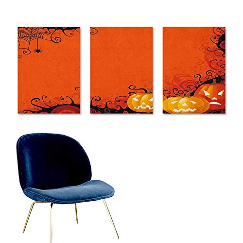 (Spider Web Art Oil Painting Three Halloween Pumpkins Abstract Black Web Pattern Trick or Treat Modern Decorative Artwork 3 Panels 16x31inch Orange Marigold)