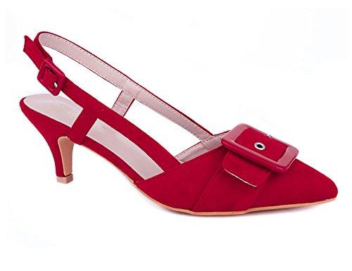 Élégant Mariage Eu 41 Rouge Pour À Ouvert Talons Et Femmes Pointu Embellies Maxmuxun Avec Chaussures Fête 36 Hauts Boucles Talon qngfpwXXPU