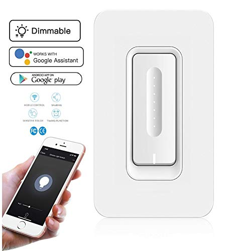 Smart Light Switch with Dimmer - No Hub Required - Control Lights from Phone via Wi-Fi, has Timer Function, Control Your Fixtures From Anywhere, Compatible With Alexa, Google Home ()
