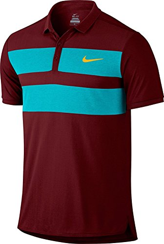 NIKE MOBILITY SPEED STRIPE MEN'S STANDARD FIT GOLF POLO Shirt T-SHIRT (728949-677) Size: Small (Small, Dark-Red/Teal) - Teal Nike Tennis