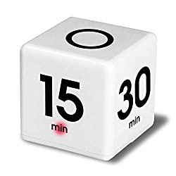 Clock Timer Alarm, Sttech1 Cube Digital 5, 15, 30, 60 Minutes Time Management for Game Entertainment White (White)