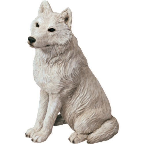 Sandicast Mid Size Gray Arctic Wolf Sculpture, Sitting