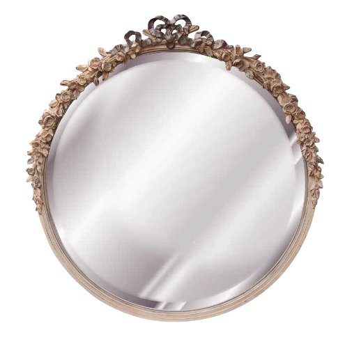 Hickory Manor Round Rose Mirror, Cream Gold Silver Manor Cream