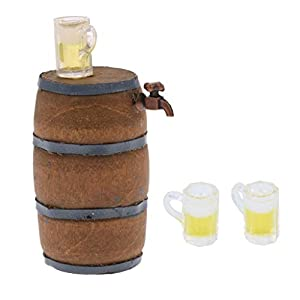 Baoblaze 1:12 Dollhouse Miniature Beer Barrel Beer Cask Beer Keg Beer Mug Decoration