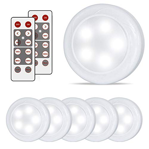 Lighting Puck - Lifeholder 6 Pack Led Puck Lights, Timer Wireless Kitchen Under Cabinet Lighting, Battery Powered led puck light Remote Control Kitchen Under Counter Nursery Bedroom Hallway Stairs