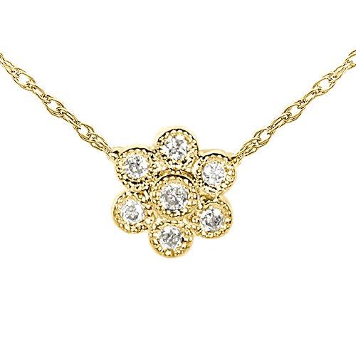 Mini diamant floral pendentif en or 14K avec chaîne