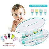 Baby Nail File, GINDOLY Upgraded Baby Nail Clipper with 1pc Free Nail Clipper,Quiet,LED Light,AA Battery Operated, Great for Newborn Toddler Infant Adults Toes and Fingernails