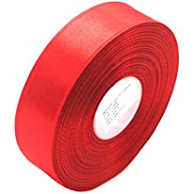 """Selling Wonderful 1"""" Single Face Satin Ribbon 50 Yards Roll for Wedding Details, Sewing Projects, Gift Wrapping, Invitation Embellishments and Crafting Projects Etc (Red)"""