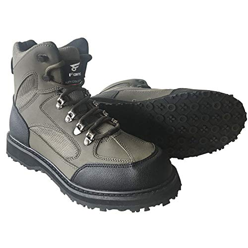 8 Fans Men's Fishing Hunting Wading Shoes Anti-Slip Durable Rubber Sole Lightweight Wading Waders Boots (US 10#)