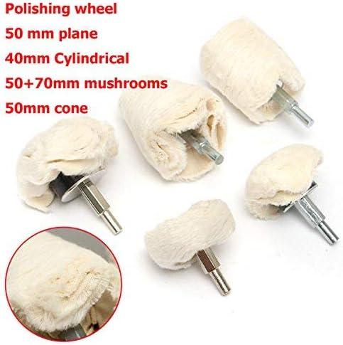 CHUNSHENN 5pcs Polishing Wheel Buffing Pad Mop Kit Plane Cylindrical Mushrooms Cone Wheel Buffing Wheels