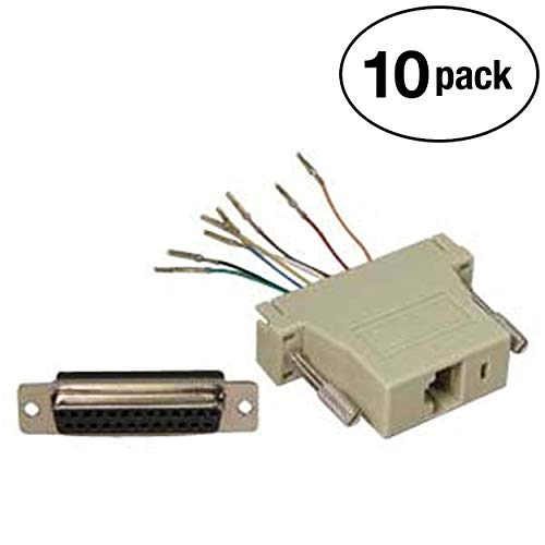 InstallerParts (10 Pack DB25 Female to RJ45 Modular Adapter Ivory ()