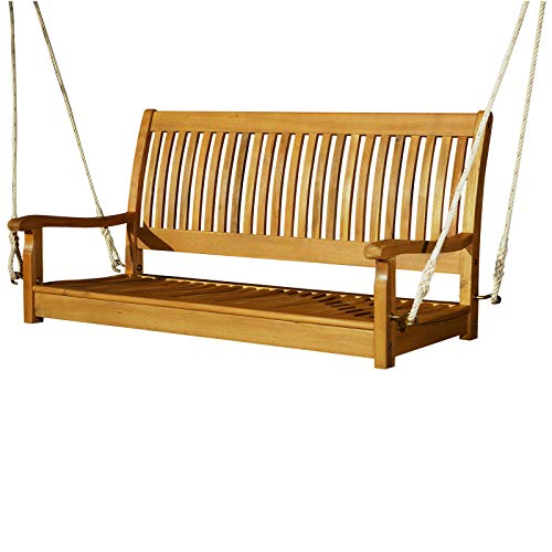FDInspiration 48.5' L Wood 2-Person Outdoor Furniture Bench Swing Porch Hanging Slatted Seat High Back Chair w/Rope with Ebook