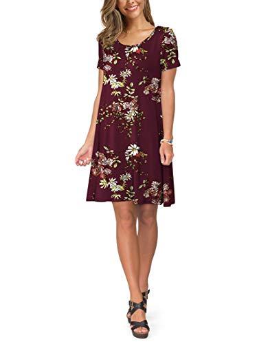 KORSIS Women's Summer Casual T Shirt Dresses Short Sleeve Swing Dress Pockets 2
