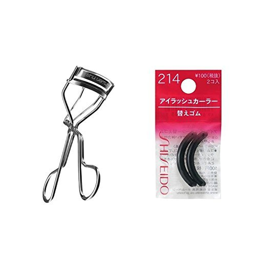 (SHU UEMURA EYELASH CURLER 1 EACH WITH 1 FREE SILICONE REFILL & Shiseido Eyelash Curler Sort Rubber 214(2ps/set) [Each of the rubbers fits in well with the eyelash curler] - special offer)