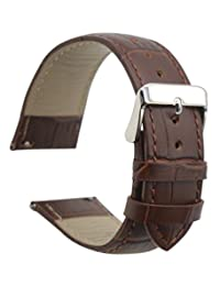 ArtStyle Quick Release Leather Watch Band Cowhide Leather Replacement Watch Strap (22mm, Dark Brown/Brown)
