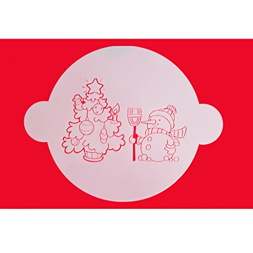 FOUR-C Cake Design Stencil Christmas Tree and Snowman Design Decor Stencils Cake Decorating Supplies Color White
