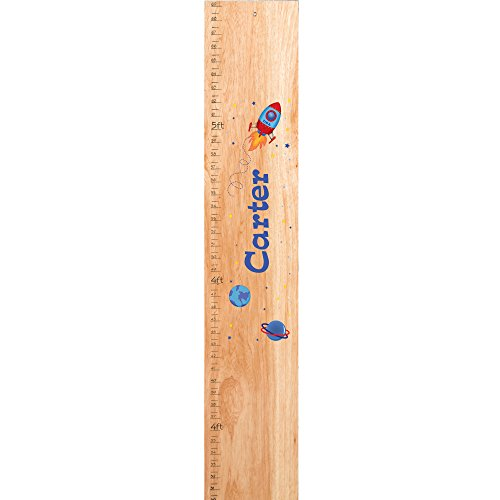 Personalized natural Rocket childrens wooden growth chart by MyBambino (Image #1)