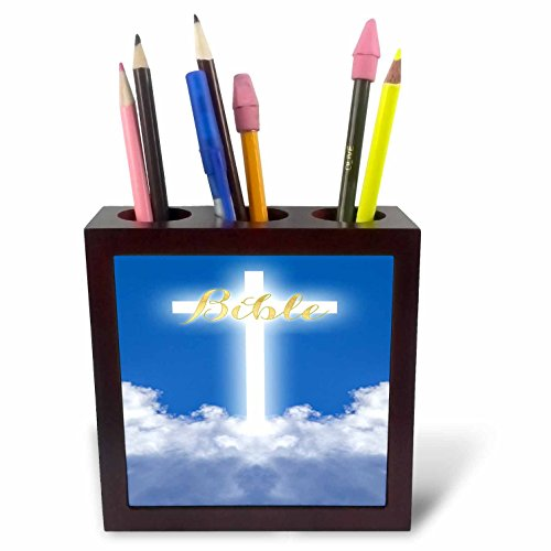 3dRose TDSwhite – Miscellaneous Photography - Bible Glowing Cross Heaven Clouds - 5 inch Tile Pen Holder (ph_285321_1) by 3dRose