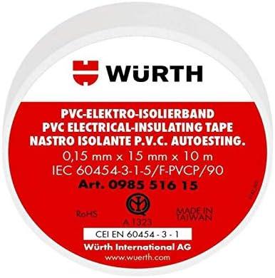 5 Nastro Isolante Bianco 15mm x 10m x 0,15mm Wurth 098551615 PVC Autoestinguente IEC RoHS Adesivo elettrico elettricista 15x10 mm//m