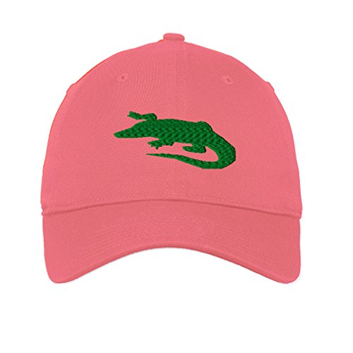 Pink Fashion Alligator (Alligator Green Shadow Twill Cotton 6 Panel Low Profile Hat Coral)