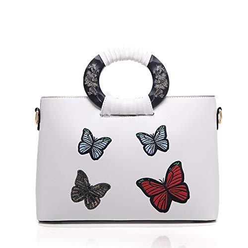 à Haut Gamme Broderie Chinois White Main Sac Sac De Sauvage De Papillon Mobile Style dqxXHzH1w0