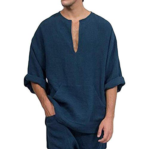 3/4 Sleeve Ribbed Henley - Mens V Neck Cotton Linen Henley Shirts 3/4 Sleeve Banded Collar T-Shirt Loose Fit Summer Beach Tops (2XL, Navy)