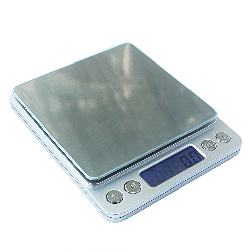 KIPA Digital Kitchen Scale, 3000g/0.1g mini pocket jewelry scale, cooking food scale with LCD display, 2-Trays 6-Units Auto off Tare PCS Function Stainless steel, 2Pcs plastic scale pan included