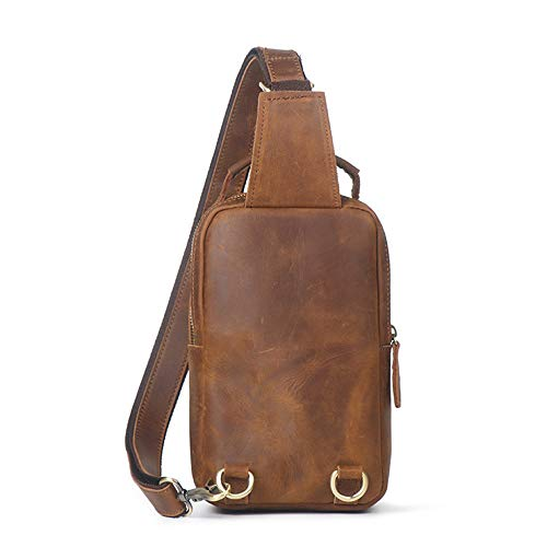 Bags Chest Men Outdoor Sports for Bag Crossbody Ybriefbag Travel Sling Chest Leather Men's Casual Shoulder Women Backpack Waterproof Brown Bag Messenger q7ERxwd