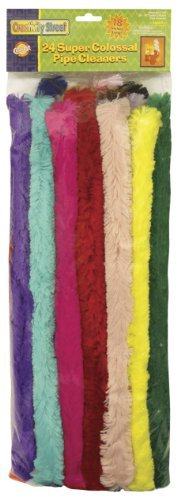 Super Colossal Pipe Cleaners, 18 x 1, Metal Wire, Polyester, Assorted, 24/Pack by Chenille Kraft