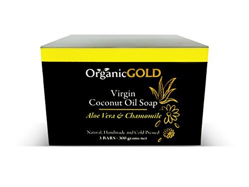 Natural and Organic Coconut Oil Soap with Aloe Vera & Chamomile Is the Best Cleanser and Deep Moisturizer – Helps Blemishes, Wounds and Sunburn for Healthy Skin (Pack of 3)