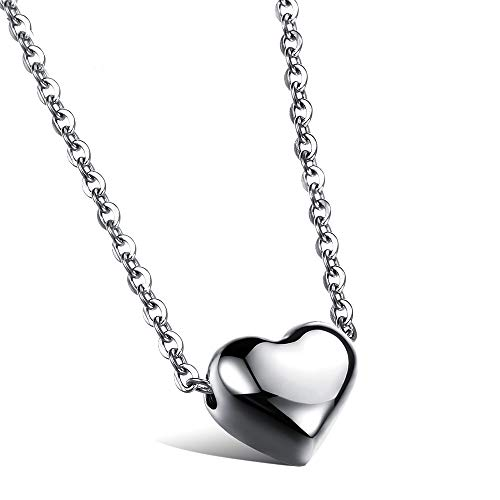 (AISHIPING Romantic Heart Pendants Necklaces Silver Rose Gold Color Stainless Steel Women Necklace)