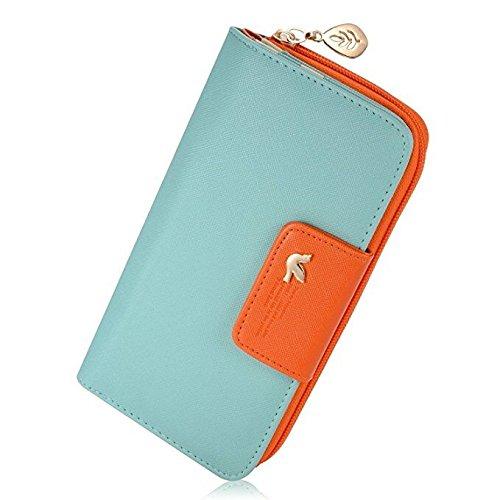 Augur Women's Leather Wallet Card Holder Purse Long Zipper Clutch Wallet Handbag