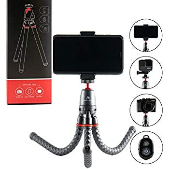 YAKAON Phone Tripod Flexible Cell Phone Stand Portable Adjustable Holder with Wireless Remote and Universal Clip 360/°Ball Joint Compatible with iPhone//Android//DSLR//GoPro Camera