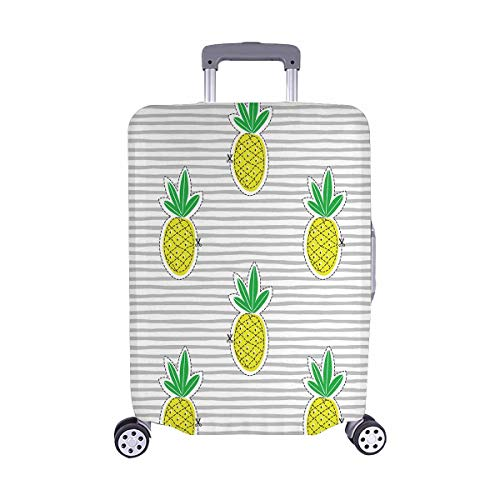 InterestPrint Cute Pineapple Juicy Fruit on Stripes Travel Luggage Cover Suitcase Baggage Protector Fits 22