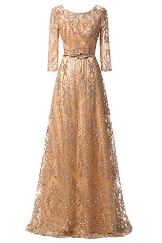 Ivydressing Evening Dress Elegant A-Line Mother Of Bride Dress Half Sleeves Long New-16-Gold