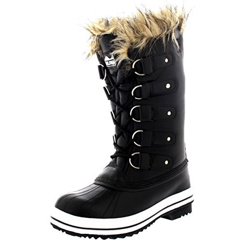 Womens Fur Cuff Lace Up Waterproof Rubber Sole Tall Winter Snow Rain Boots - 7 - BLL38 - Cuff Snow