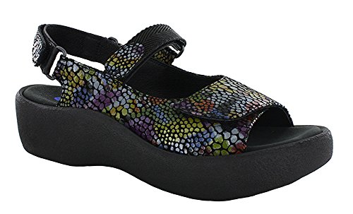 Color Sandals Jewel Wolky Leather Womens Fantasy Multi Black A484zYwnx