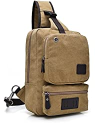 Canvas Crossbody Sling Backpack - Vintage Chest Daypack Durable One Shoulder Messenger Bag for Men Travel Rucksack
