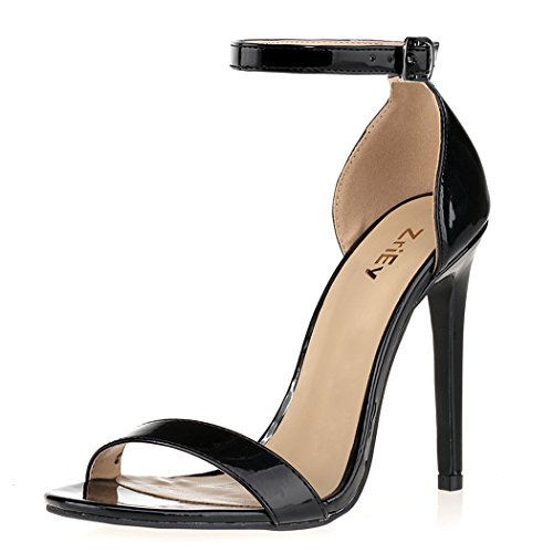 ZriEy Women's Heeled Sandals Ankle Strap Dress High Heels Stilettos 11CM Shoes (Patent Sexy Sandals)
