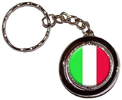Italia bandera italiana redonda giratoria llavero: Amazon.es ...