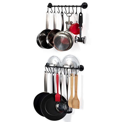 Pot Iron Rack Small (Wallniture Kitchen Cookware Organizer Rod with Hooks Painted Steel Black 16 Inch Set of 2)